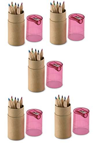 Set di 5 confezioni da 12 matite colorate con temperamatite temperino, per feste dei bambini, matrimonio, ristorante, tubo pastelli a scelta tra giall
