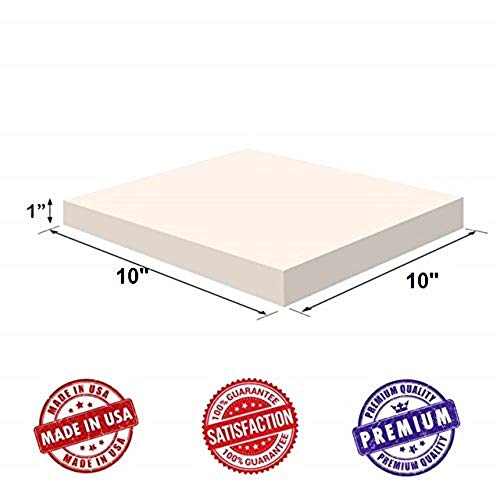 Upholstery Visco Memory Foam Square Sheet- 3.5 lb High Density 1'x10'x10'- Luxury Quality For Sofa, Chair Cushions, Pillows, Squishy, Doctor Recommended for Backache & Bed Sores by Dream Solutions USA
