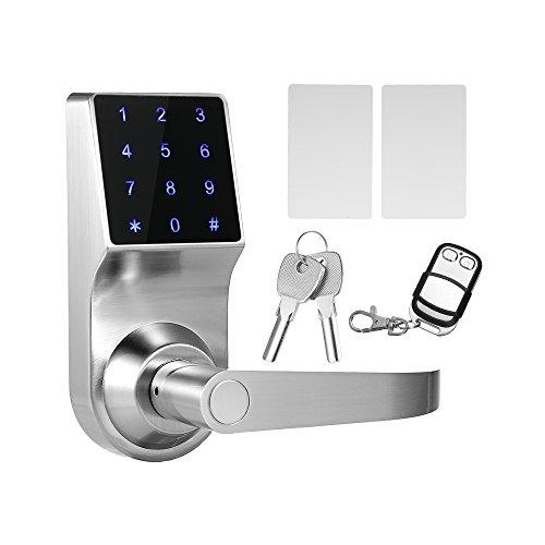 Decdeal 4 en 1 Cerradura Electrónica Táctil de Contraseñas, ID Trajeta, Remoto Control, Llave (Color Plata)