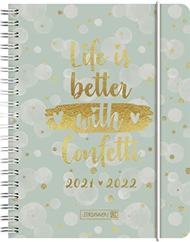"""BRUNNEN 1071855092 Schülerkalender 2021/2022 (18 Monate) """"Confetti"""" 2 Seiten = 1 Woche, Blattgröße 12 x 16 cm, A6, PP-Einband"""