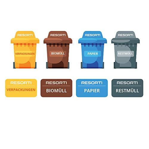 Resorti Aufkleber 8er Set für Abfall- und Mülltrennung Motiv Mülltonne & eckig (Restmüll, Gelber Sack, Biomüll, Papier-Müll)