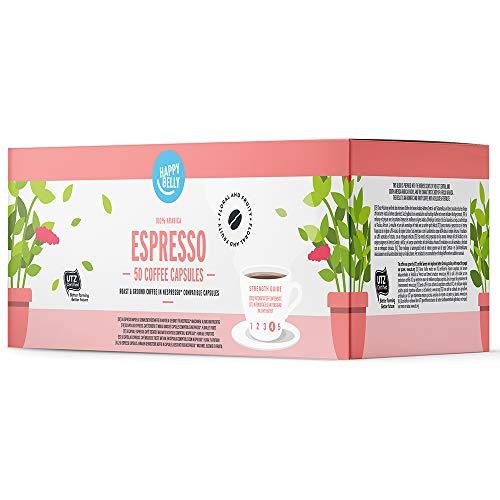 Amazon-Marke: Happy Belly Espresso Gemahlener UTZ Röstkaffee in Kapseln (kompostierbar), geeignet für Nespresso-Maschinen, 50 Kapseln (5x10)