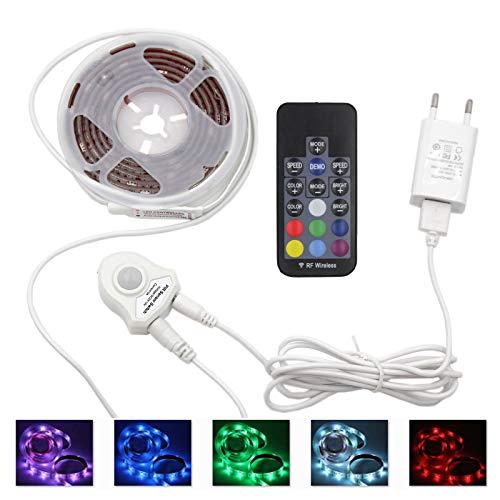 Jindia RGB LED-Lichtleisten 1.5M Dimmbar mit RF Fernbedienung, Bewegungsmelder Nachttischlampe, Bewegung aktivierte LED-Lichtleiste
