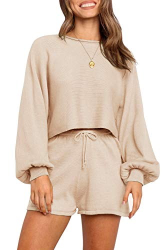 ZESICA Women's Casual Long Sleeve Solid Color Knit Pullover Sweatsuit 2 Piece Short Sweater Outfits Sets,Apricot,Small
