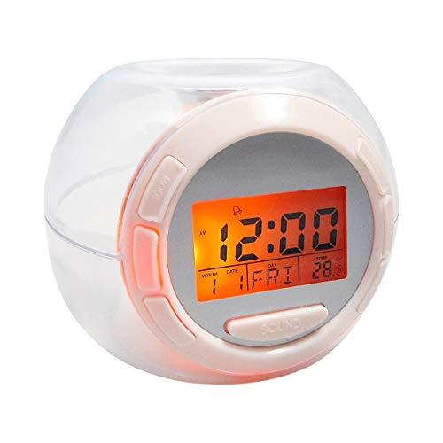 Jocca 1164 Reloj Despertador con Sonidos Naturales y Luz, Blanco, 8.5 x 11 x 10 m