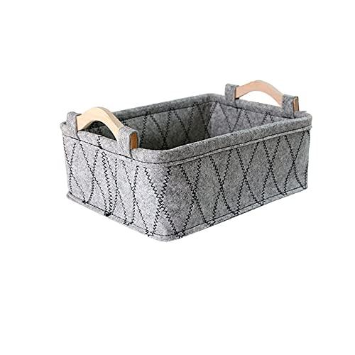 HDSFD - Cesto portaoggetti elegante e bello, con manico in legno, semplice e confortevole, adatto per riporre piccoli oggetti, collane, libri, 1 pezzo grigio