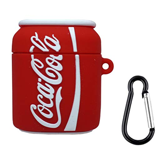 Cute Case Compatible for Apple AirPods 2/1 AirPods Case Cover 3D Slim Shockproof Silicone Shell Anti-Fall Cover for AirPods Charging Cartoon Case with Carabiner (Coca Cola, AirPods 2/1)