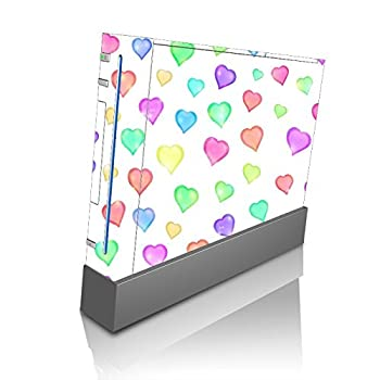 Love Hearts Pattern Background Red Purple Green Yellow Blue Pink Vinyl Decal Sticker Skin by Moonlight Printing for Wii Console