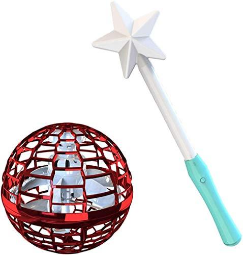 Spinning Tops Spinner con trucos infinitos Glow Flying Toys Hand Operado Drones Regalo Niños Adultos Rojo
