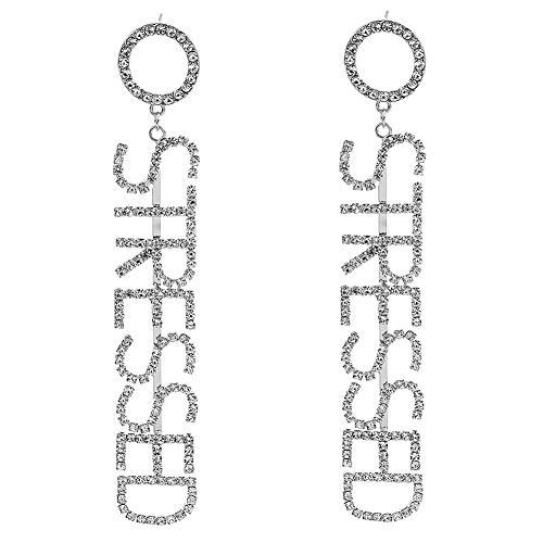 AchidistviQ - Pendientes Largos con diseño de Letra Inglesa y Diamantes de imitación