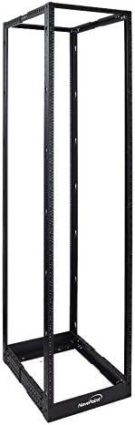 NavePoint 45U Professional 4-Post IT Open Frame Server Network Relay Rack 7 Feet Tall Threaded Black