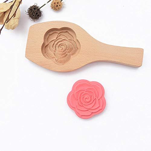 Huishoudelijke Gebak Schimmel Houten Maan Cake Pompoen Taart Maken Tool Gestoomde Pasta Broodje Model Bloemvorm-Driedimensionale Roos