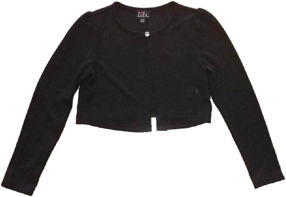 Lilt Girls One Button Long Sleeve Sweater Shrug - Black or White