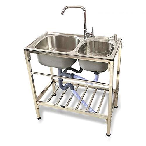 GHJA Fregadero de Cocina de Catering, Fregadero Doble de Acero Inoxidable, con 360 & deg;Estante Giratorio del Soporte del Grifo, Utilizado en Bar, Cocina, Restaurante