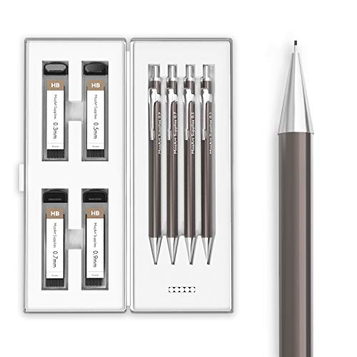 Mechanical Pencil Set with Case - 4 Sizes: 0.3, 0.5, 0.7 & 0.9 mm, 30 HB Lead Refills Each & 4 Eraser Refills - Drafting, Sketching, Illustrations, Architecture (Metal) - MozArt Supplies