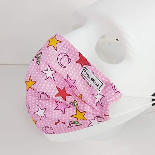 Kindermaske Rosa ABC, Gesichtmaske, Mundbedeckung Maske, Einlagig, Baumwolle, Nase-Mund-bedeckung