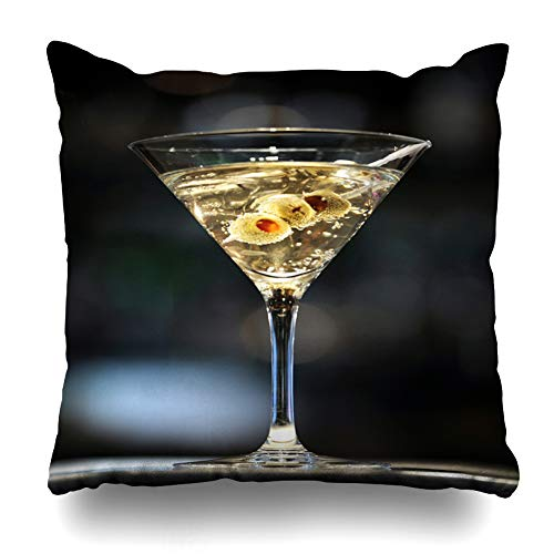 DIYCow Throw Pillows Covers Three Vodka Martini On Bar Olives Food Drink Cocktail Cushion Case Pillowcase Home Sofa Couch Square Size 18 x 18 Inches Pillowslips