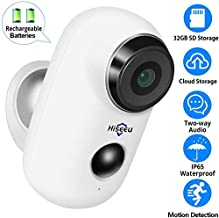 【32GB Preinstalled】 1080P Battery Powered Outdoor Camera,Wireless Home Security Camera,Two-Way Audio,App Remote,IP65 Waterproof,Night Vision,Rechargeable Batteries,2.4GHz WiFi,Encrypted Cloud Storage