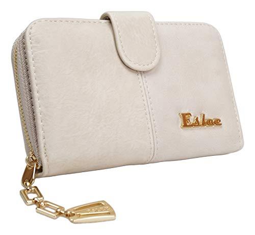 LT LadiesTrends präsentiert Damen Geldbörse Eslee XL kurz Frauen Portemonnaie Kunstleder mit Ketten - Reißverschluss in 6 Farben (6970 Beige, 6970)