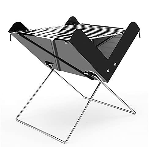 Yagosodee Parrilla de carbón para barbacoa portátil de acero inoxidable plegable parrilla herramienta para acampar picnic al aire libre jardín fiesta