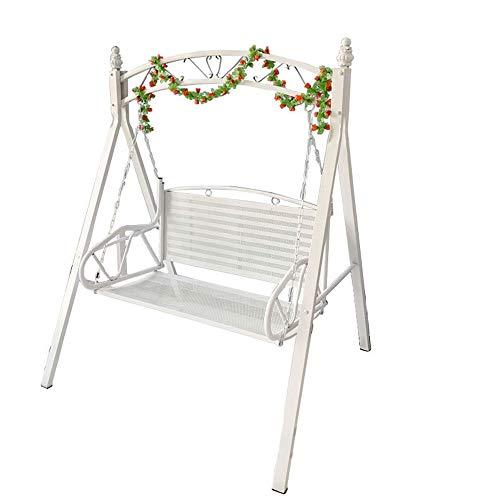 TWW - Sedia a dondolo da esterni, in ferro battuto, ideale per l'estate, da balcone, per adulti bianco