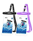MoKo Waterproof Cellphone Pouch, [2 Pack] Underwater Phone Case Dry Bag with Lanyard Compatible withiPhone 12/iPhone 12 Mini/iPhone 12 Pro/iPhone 12 Pro max/11/11 Pro/11 Pro MAX, Black+Purple