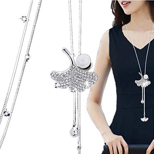 Elistelle XBY.mi Halskette Kette Damen Silber Mit Anhänger Blumen Muster Lang Ketten (S#5)