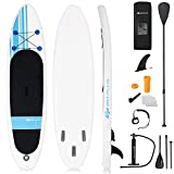 Goplus Inflatable 10'  StandUp Paddle Board Package w/ Leash Fin Adjustable Paddle Pump Kit Carry Backpack, 6' Thick