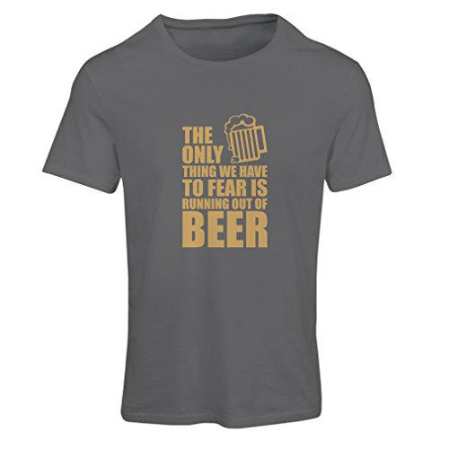 lepni.me Camiseta Mujer Tener Miedo de no Tener una Cerveza - para la Fiesta, Bebiendo Camisetas (Small Grafito Oro)