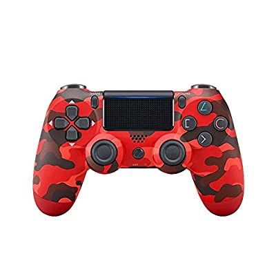 Wireless Bluetooth Controller for Playstation 4 with Dual Vibration Compatible with Windows PC & Android OS-Red Camouflage
