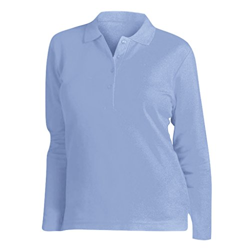 Sols Podium Damen Pique Polo-Shirt, Langarm (Large) (Himmelblau)