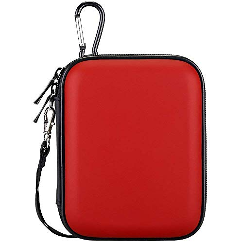 Lacdo Hard Drive Carrying Case for Seagate Portable Expansion Seagate One Touch Seagate Backup Plus Slim Portable External Hard Drive 1TB 2TB 4TB 5TB USB 3.0 2.5 inch HDD Shockproof Travel Bag, Red