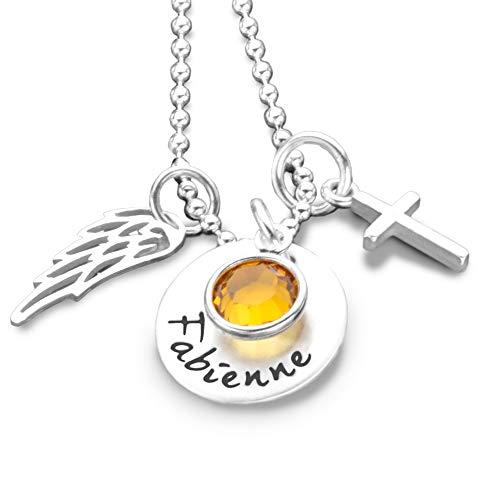 Namenskette mit Gravur GLANZVOLL 925 Silber Kette mit Kreuz und Engelsflügel Kommunion Konfirmation Firmung