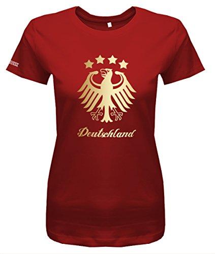 WM 2018 Deutschland Adler - 4 Sterne Gold - Damen T-Shirt in Rot by Jayess Gr. M