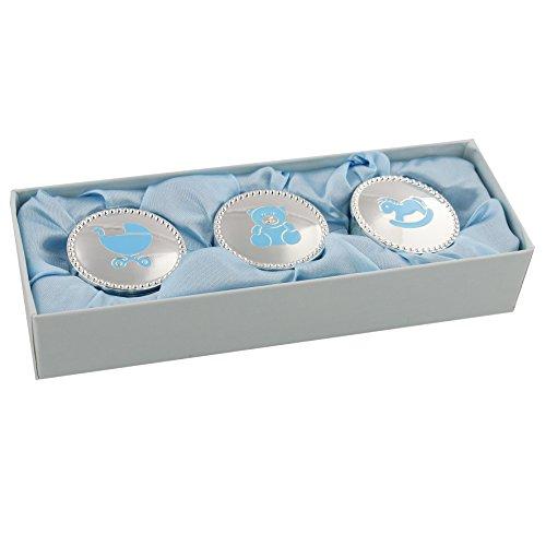 Juliana Silverplated set di tre scatole portagioie 5cm–blu