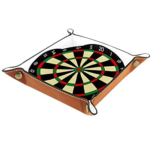 Faltbare Würfelspiele Tablett Leder Quadratische Schmuckschalen und Uhr, Schlüssel, Münze, Süßigkeiten Aufbewahrungsbox Darts Spiel
