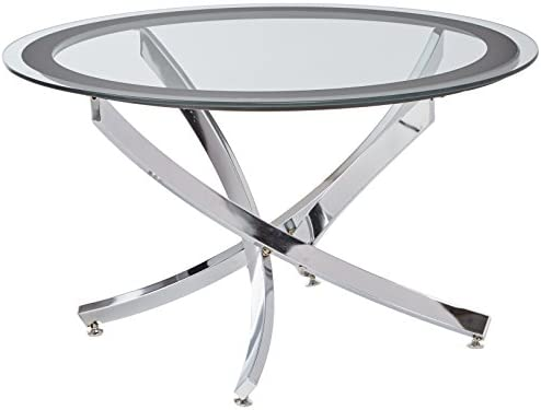 Best Norwood Coffee Table with Tempered Glass Top Chrome and Clear