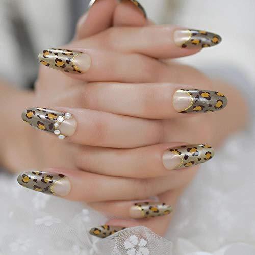 TJJF Fantaisie léopard imprime Art ongles bijoux personnalisé faux ongles ovale longue dame ongles conseils avec ligne de sourire d'or