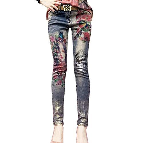 HOSD Jeans elásticos con Estampado de Flores...