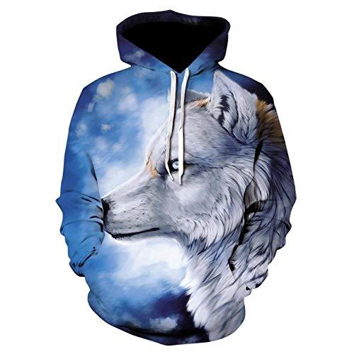 Zaguanxsa Wolf Hoodie Herren Hoodie Hip Hop Hoodie Lässig 3D Wolf Head Hoodie Sweatshirt Sportswear-Picture_Color_XXXL