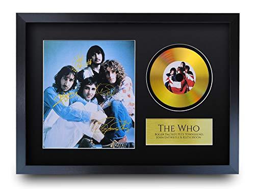 HWC Trading A3 FR The Who Roger Daltrey Pete Townshend Gifts Signiertes Autogramm mit goldener Scheibe Bilddruck für Fans von Musik-Erinnerungsstücken – A3 gerahmt