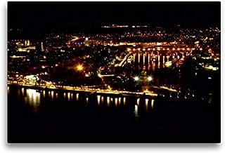 Premium Textil lienzo 75 cm x 50 cm horizontal, Koblenz, la esquina alemana en la noche, imagen sobre bastidor, imagen sobre lienzo auténtico, impresión sobre lienzo (CALVENDO Orte);CALVENDO Orte