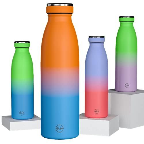 GH Botella de Agua acero Inoxidable 500ml Naranja Azul Marino | Frasco de Agua de Metal Reutilizable | Botella Termica Doble pared al vacío | Botella de bebida reutilizable Sin BPA, Antigoteo