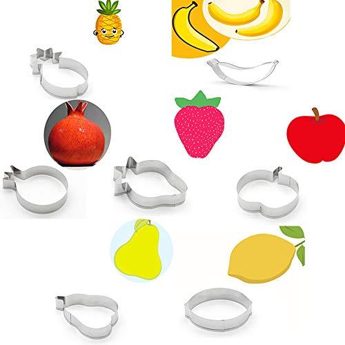Ruby569y Keksausstecher für Backen, 7 Stück Obst, Banane, Apfel, Zitrone, Metall, Fondant, Kuchen, Keksausstecher, Backwerkzeug, Silber