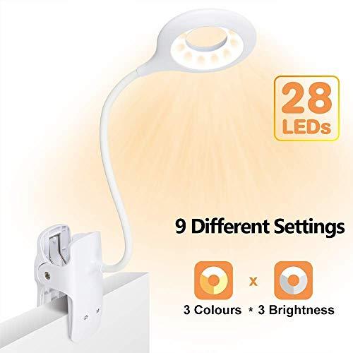 Leselampe, SINJIAlight 28 LEDs USB Wiederaufladbare leselampe kinder, 3 Farben x 3 Helligkeit klemmleuchten mit Sicherheitsschalter, Augenschutz Buchleuchte zum Lesen im Bett
