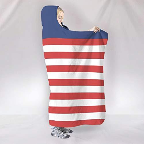 BOBONC USA-Flagge Wearable Tapisserie Hooded Throw Wrap Ultra Weich Und Warm Kuscheldecke Winter TV Computer Kapuzen Wurf Wrap- Für Erwachsene Und Kinder White 130x150cm