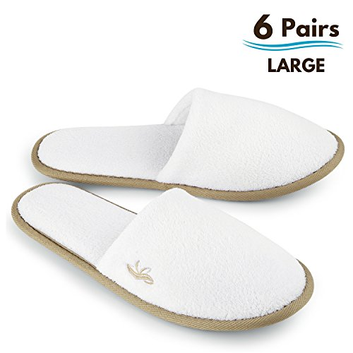 BERGMAN KELLY Spa Slippers, Closed Toe (White, Cocoa Trim, 6 Pairs Size Large) Disposable Indoor Hotel Slippers for Men and Women, Fluffy Coral Fleece, Deluxe Padded Sole for Extra Comfort