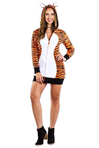 Damen Tiger Kostüm für Halloween - weiblich Erwachsene Sexy Tiger Kleid Outfit - Orange - Small