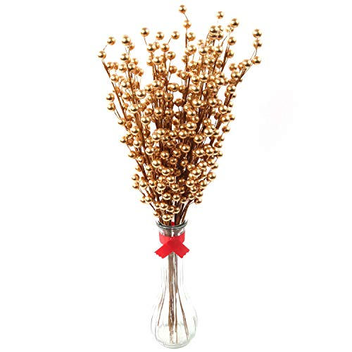 "Larksilk 12 Gold Holly Berry Stem Picks - 19"" Decorative Wire Stem Branch Sprays for Christmas Tree Decoration, Holiday Décor, Silk Flower Arrangements, Home DIY Crafts, 35 Red Berries on Each Stem"