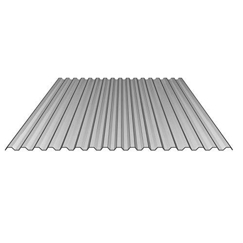 Lichtplatte   Spundwandplatte   Profil 76/18   Material Polycarbonat   Breite 1265 mm   Stärke 1,1 mm   Farbe Silber-Metallic   Temperaturreduzierend